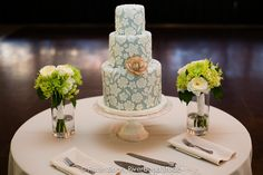 Amy Beck Cake Design - Chicago, IL - 3 Tier fondant wedding cake featuring antique lace paired with a beautiful sugar succulent - #amybeckcakedesign