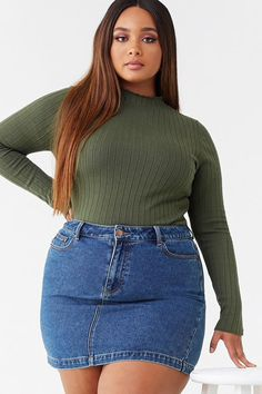 Plus size ribbed mock neck top plus size fashion the best service for curvy girls womensfashion earlier plus size women used to find it difficult to shop and find any woman plus size fashion Curvy Girl Outfits, Cute Casual Outfits, Plus Size Outfits, Fall Outfits, Fashion Outfits, Fall Fashion, Style Fashion, Fashion Ideas, Grunge Outfits