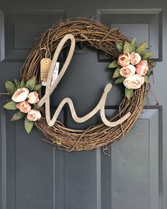 Peony Wreath, HI Wreath, Rustic Wreath, Spring Wreath, Grapevine Floral Wreath, Year Round Wreath, Wreath for Front Door, Floral Wreath Rustic Grapevine Wreath handcrafted using natural grapevine bases with hi sign and faux mini pink peonies. Everything in my shop is one-of-a-kind