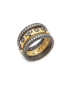 FREIDA ROTHMAN Clover Eternity Two-Tone Sterling Silver Studded Stack Ring