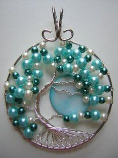 Pearly Blue Tree of Life with Moon Wire Wrapped Pendant by wanting