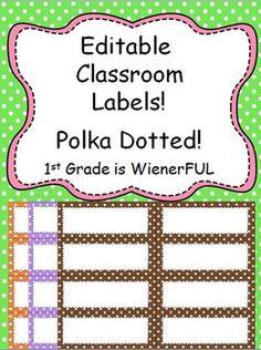 FREEBIE!!!!!!!!!!!  Small Editable Polka Dotted Labels~all colors! Enjoy this freebie!!!!!! Polka Dot Labels, Polka Dot Theme, Polka Dots, Classroom Labels, Classroom Organisation, School Organization, 1st Day Of School, Beginning Of School, File Folder Labels