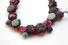 Colorful fiber necklace crochet with fabric buttons and