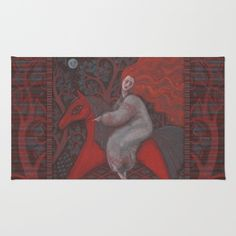Red Horse, redhaired woman, magic night forest, folk art Rug by Clipso-Callipso…