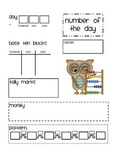Calendar Math Math Journal Number of the Day