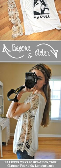 Lace added to side of shirt 33 Clever Ways To Refashion Clothes (With Tutorials)