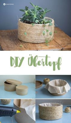 DIY Übertopf aus Naturseil Planter DIY basket for flowers Rope Crafts, Diy Home Crafts, Diy Crafts To Sell, Plant Basket, Rope Basket, Diy Para A Casa, Diy Planters, Diy Room Decor, Diy Furniture
