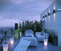Outdoor Rooftop Patio with Sofa and Armchair with Cushions in Apartment Design Ideas