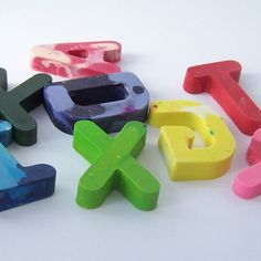 Personalised name letter crayons by Handmade by Birdcage Creatives
