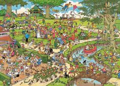 Jan van Haasteren The Park Jigsaw Puzzle. You've never seen a Saturday in the park quite like this Park jigsaw puzzle depicts. Cartoon Puzzle, Cartoon Art, Tenerife, Puzzle Shop, Puzzle Board, Challenging Puzzles, Park Art, Space Crafts, Lakes