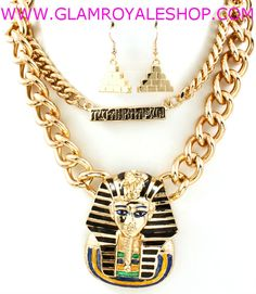 """ARE YOU FEELING UNIQUE??, THEN SHOW IT OFF""!! With your ""CHUNKY 2 LAYER SPHINX CHAIN"" Set ( 2 colors)!!  PURCHASE NOW ---->  http://www.glamroyaleshop.com/ProductDetails.asp?ProductCode=GRAS.46"