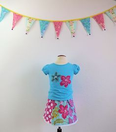 Girls applique and bead embellished tee with by TheMulberriBush.