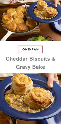 Classic biscuits and gravy take a little twist with the addition of cheese and sweet corn in this One-Pan Cheddar Biscuits and Gravy Bake recipe. Campbell's® creamy mushroom soup eliminates the need for a roux and provides a savory base for this delicious dinner dish.