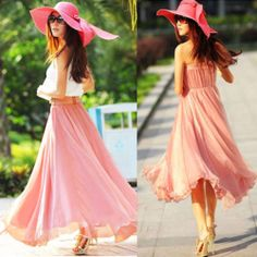Summer Womens Full Circle Chiffon Long Maxi Skirt Pleated Boho New Solid Color