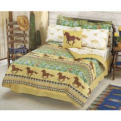 Southwest Run Bed in a Bag Set - Horse Themed Gifts, Clothing, Jewelry and Accessories all for Horse Lovers Horse Themed Bedrooms, Bedroom Themes, Girls Bedroom, Horse Bedrooms, Pink Bedding, Bedding Sets, Camo Bedding, Home Design, Pink Bed Sheets