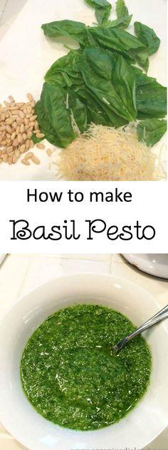 Easy recipe for basil pesto. Perfect on any pasta!