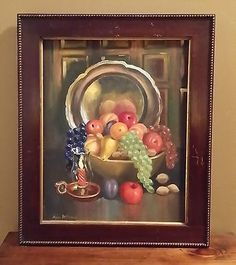 Picture Art Vintage Framed Signed Ann McEnaney Oil on Canvas Painting 23x19