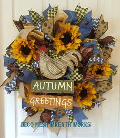 Fall Wreaths, Harvest Wreath, Autumn Wreath, Farm Wreath, Country Wreath, Deco Mesh Wreath, Burlap Wreath, Sunflower Wreath by DecoMeshWreathWorks on Etsy
