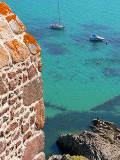 Mont Orgueil Castle and Gorey Harbour, Jersey, Channel Islands
