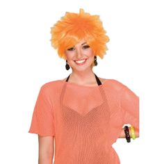 www.privatepartyisland.com - 80's Orange Punk Costume Pixie Wig 6083 $12.99 - There is no mistaking that you are ready to rock with this 80's Orange Pixie Costume Wig. This 80's Orange Pixie Wig goes great with a rock star pixie outfit. Bang your pixie wig head and rock your air guitar!  A great addition for Halloween, concerts, 80's punk theme parties and any other occasions. When wearing wigs, don't forget to buy a wig cap.