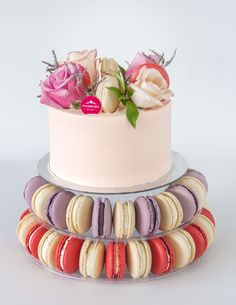 Strawberry Cake topped with flowers & Macaron tower base. Only at Passiontree Velvet