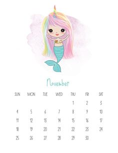 This Free Printable 2019 Kawaii Mermaid Calendar is gonig to make you smile! It is fabulous for mermaid lovers of all ages! Calendar March, Print Calendar, Kids Calendar, Calendar Ideas, Free Printable Calendar Templates, Monthly Calendar Template, Free Printables, Monthly Planner, Planner Stickers