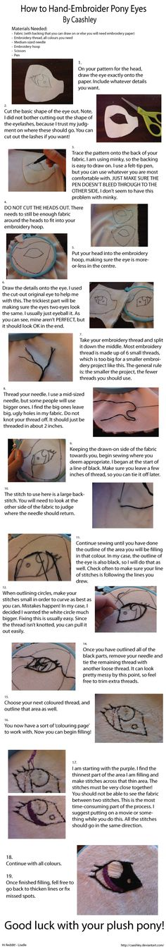 Embroidered Eyes: Tutorial How to embroider My Little Pony Eyes, My Little Pony Plushie Tutorial , Animal Plushies, Softies & Furries Arts and Crafts, My Little Pony Patterns for Fan Art Diy Projects, My Little Pony Sewing Template for Majesty Unicorn , pony, ponies, pattern, template, sewing, diy , crafts, kawaii, MIP
