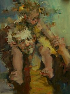 """""""Precious Cargo"""" Impressionistic Figures/Portraits Father and Child painting by artist Kim Roberti Painting For Kids, Figure Painting, Art For Kids, University Of Los Angeles, Arts Integration, Z Arts, Portrait Art, Portraits, Art Themes"""