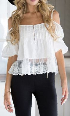 Boho Lace Sleeve Top - Features Lace Hem Top