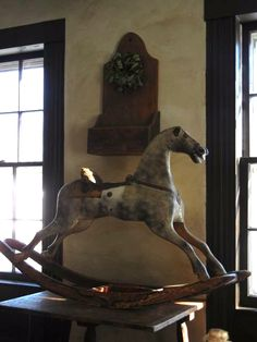 I want one of these rocking horses for in front of my livingroom window Antique Rocking Horse, Vintage Horse, Rocking Horses, Wooden Elephant, Wooden Horse, Wooden Animals, Primitive Furniture, Primitive Antiques, Primitive Decor