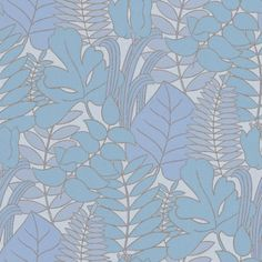 Happy Nature (343004) - Brewers Wallpapers - A pretty all over leaf silhouette design, with different leaf shapes overlaid to make a subtle effect.  Shown in the fresh blue and lavender on pale blue. Other colours available. Please request sample for true colour match. Paste the wall.