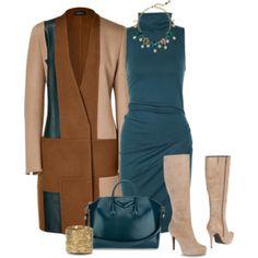 AKRIS Petrol/Camel Leather/Camel Hair Camaro Coat - Polyvore