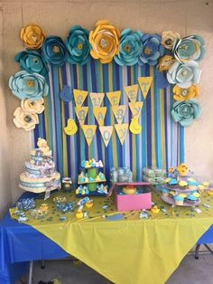 Rubber duckie theme baby shower , paper flowers and streamers