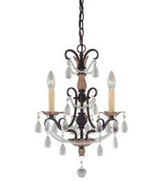 This 3 light Mini Chandelier from the Signature collection by Minka-Lavery will enhance your home with a perfect mix of form and function. The features include a Distressed Bronze finish applied by experts. This item qualifies for free shipping! Check the right-hand bar or call our dedicated Sales Team for similar items and additional options not pictured.