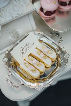 Delicious patisserie for perfect French wedding. Mini Tortillas, Eclairs, Roger Vivier, Macaron, Mini Cakes, Let Them Eat Cake, High Tea, Dessert Table, Afternoon Tea