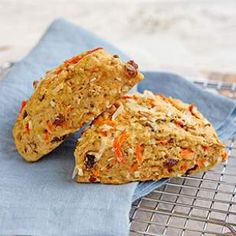 233 calories each. No bakery degree required for this recipe: these healthy carrot- and raisin-studded morning glory scones are as easy to make as a batch of muffins. Healthy Scones, Savory Scones, Cheese Scones, Breakfast Scones, Breakfast Recipes, Scone Recipes, Potato Recipes, Dinner Recipes, Toasted Pecans