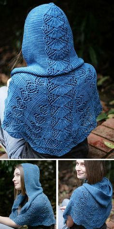 Knitting Pattern for Jo's Pride Hooded Shawl - Lace shawl knit from the bottom up to the top of the hood. Shoulder shaping produces an excellent fit. This pattern is both written out and charted. This shawl was designed as a tribute to Little Women b Lace Knitting Stitches, Lace Knitting Patterns, Hand Knitting, Poncho Patterns, Knit Wrap Pattern, Hood Pattern, Knitted Shawls, Crochet Shawl, Knit Crochet