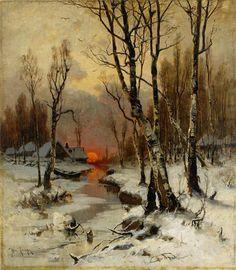 "catonhottinroof: ""Julius Von Klever Sunset in the forest in winter """