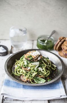 Crispy aubergine with kale pesto fettuccine recipe from Top With Cinnamon by Izy Hossack | Cooked