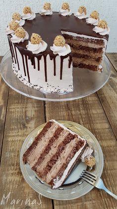 MarinaS Taste Ferero torta is part of Torte recepti - Chocolate Cake Recipe Easy, Best Chocolate Cake, Chocolate Cookie Recipes, Easy Cheesecake Recipes, Easy Cookie Recipes, Dessert Recipes, Paleo Recipes, Torte Recepti, Kolaci I Torte