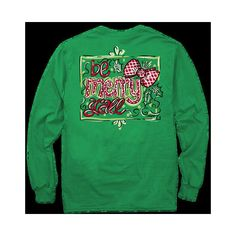 It's a Girl Thing Green Christmas Long Sleeve T-Shirt ($22) ❤ liked on Polyvore featuring tops, t-shirts, dark olive, women's clothing, green long sleeve shirt, green shirt, long sleeve tees, green t shirt and christmas t shirts