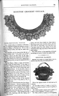 1850s Crochet lace collar pattern. From Godey's Lady's Book.