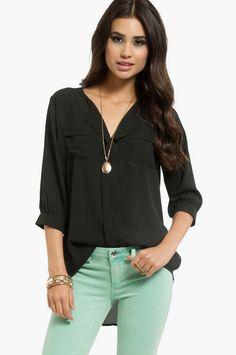 black blouse & mint jeans - loooove mint pants