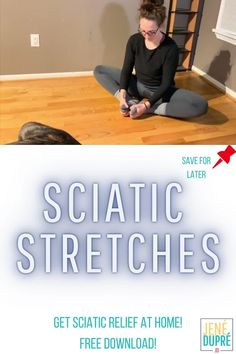Sciatic Stretches for Pain Relief! If you're looking for pain relief these are the stretches for you! Do these stretches in the comfort of your home and get relief immediately!  FREE download to help you every step of the way!  #sciatic #sciatica #stretch #stretches #stretching #health #wellness #painrelief #pain #healthy  #trainer Easy At Home Workouts, Home Exercise Routines, Exercise Activities, Yoga For Sciatica, Sciatica Stretches, Health And Fitness Expo, Health And Wellness, Sciatic Nerve Relief, Muscle Spasms
