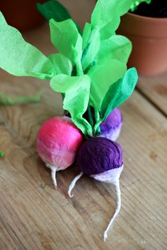Crepe paper vegetable surprise - such a cute treat for an Easter or Spring brunch, filled with sweet treats