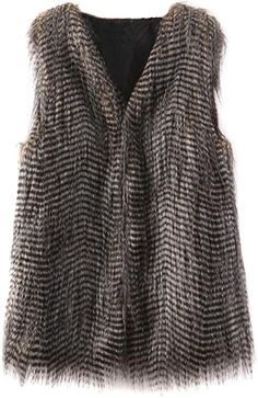 Choies Variegated Peacock Stripe Faux Fur Waistcoat on shopstyle.com