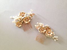 Gold flowers and pearl Bridal hair comb headpiece by amuandpri