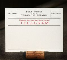 Telegram blank letterpress printed by luckyduckletterpress on Etsy, $18.00