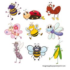 Imprimir insectos Bug Cartoon, Cartoon Drawings, Animal Drawings, Art Drawings For Kids, Cool Drawings, Drawing For Kids, Coloring Book Art, Spring Painting, Bullet Journal Art