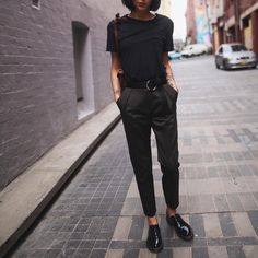 Topshop trousers, Dr Martens shoes, Zara plain t-shirt
